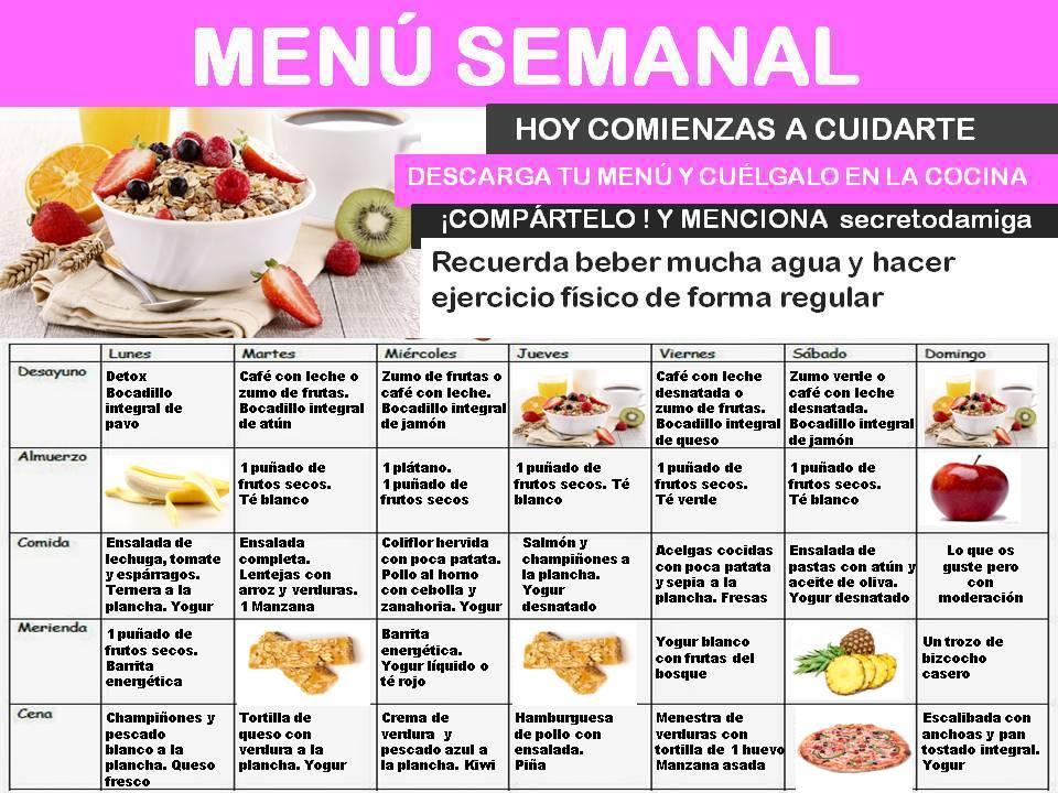 Perder peso men semanal marzo 3 secretodamiga - Comida para dieta adelgazar ...