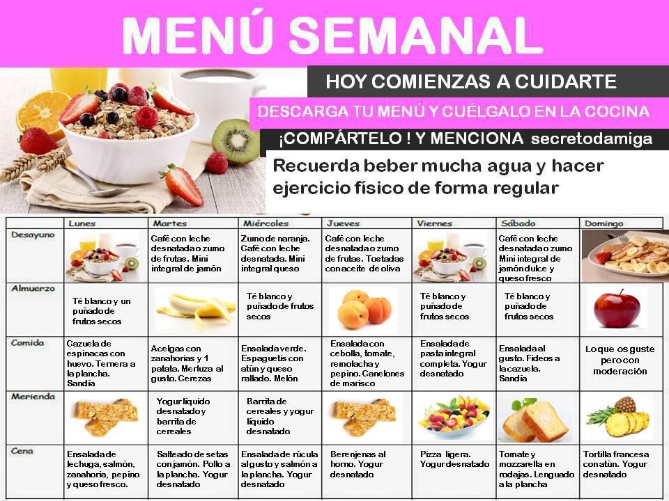 Como bajar de peso men semanal julio 2 secretodamiga for Comida saludable para toda la semana
