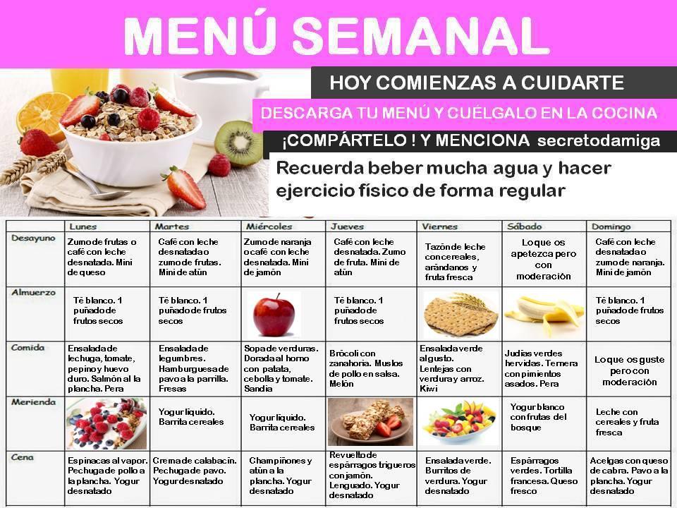 Como bajar de peso menú semanal Julio 4 - Secretodamiga